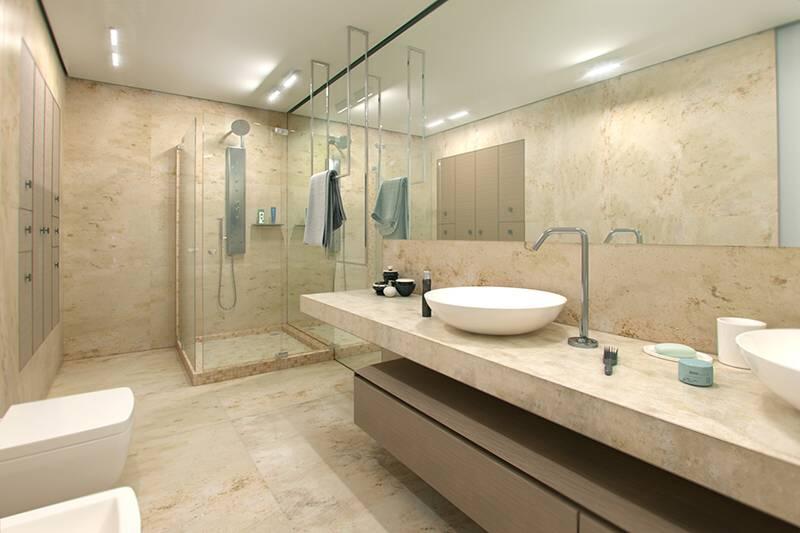 jasne blaty w łazience